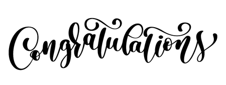 Congratulations calligraphy lettering for text card  Vector illustration