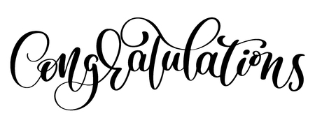 Congratulations Hand lettering Calligraphic greeting inscription. Vector handwritten typography Vettoriali