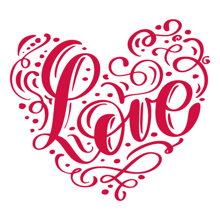 Handwritten inscription LOVE disposed in heart vector illustration.