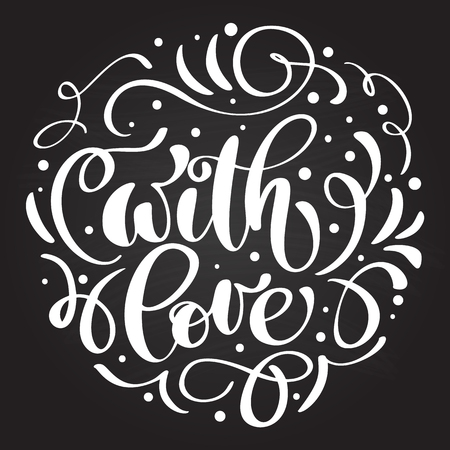 With love hand lettering written on a chalkboard vector illustration. Illustration