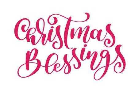 Mano de bendiciones de Navidad escrito caligrafía vector de letras