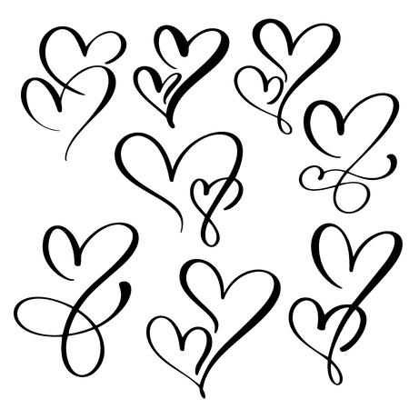 Handmade heart calligraphy. Vettoriali