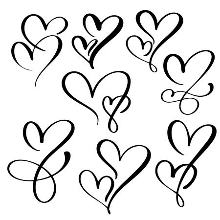 Handmade heart calligraphy. Illustration