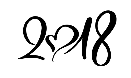 Black number christmas 2018 hand drawn lettering on white background. Greeting card design template with calligraphy for 2018 New Year. Vector illustration