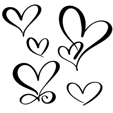 set lovers heart. Handmade vector calligraphy. Decor for greeting card, mug, photo overlays, t-shirt print, flyer, poster design.