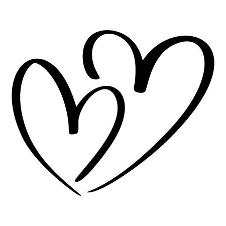 Corazón de dos amantes Caligrafía a mano del vector Decoración para tarjetas de felicitación, taza, superposiciones de fotos, estampado de camisetas, volantes, diseño de carteles