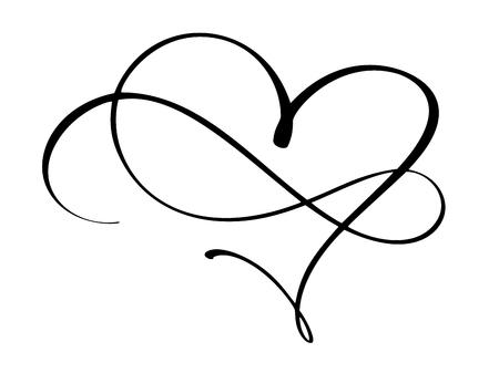 Coeur vintage et infini pour la Saint-Valentin et illustration vectorielle de mariage jour comme élément de conception. Typographie encre amusante à la brosse pour superpositions de photos, impression de t-shirt, flyer, affiche