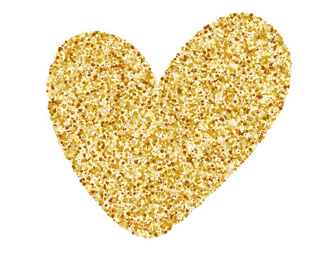 Heart Love Gold. Golden design element, Happy Valentines day card, romantic for design greeting cards, mug, holiday invitations, photo overlays, t-shirt print, flyer, poster design, pillow Illustration