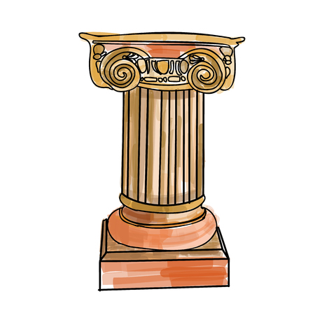 Stylized Greek doodle column Doric Ionic Corinthian columns. Vector illustration. Classical architectural support. Illustration