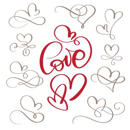 繁栄した書道ヴィンテージの愛と心のセット。●イラストベクトル手描き、手書きベクトルスタイルハッピーバレンタインデーサイン  イラスト・ベクター素材