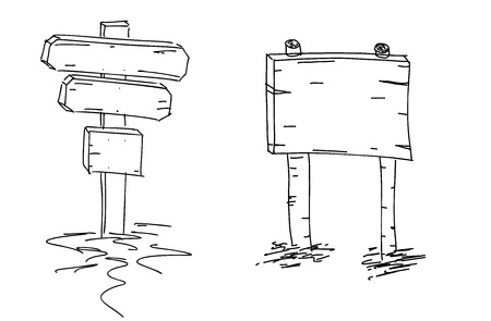 Flechas dobles Boceto dibujado a mano. Ilustracion vectorial Señal de direccion Doodle boceto de indicadores de madera. Puntero. Encuentra tu camino