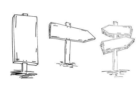 二重矢印。手描きのスケッチ。ベクトルイラスト。方向標識。木製の指標の落書きスケッチ。ポインター。あなたの方法を見つける  イラスト・ベクター素材