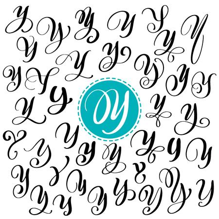 손으로 그린 벡터 달 필 문자 Y 집합입니다. 스크립트 글꼴입니다. 잉크로 작성 된 격리 된 편지입니다. 필기 브러쉬 스타일. 로고 포장 디자인 포스터에 대한 핸드 레터링.