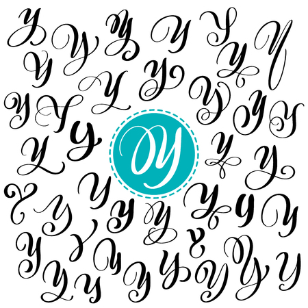 Set Of Hand Drawn Vector Calligraphy Letter Y Script Font Isolated