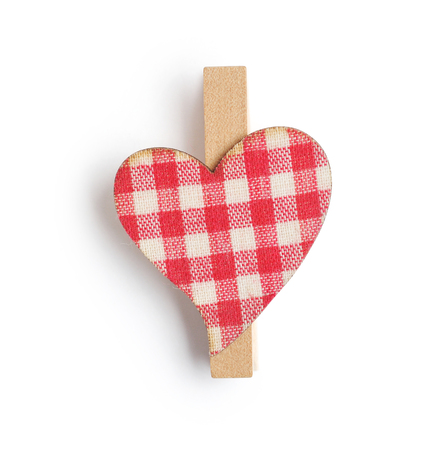 pin wooden heart isolated on isolated clipping mask on white background, top view illustration for valentines day or wedding