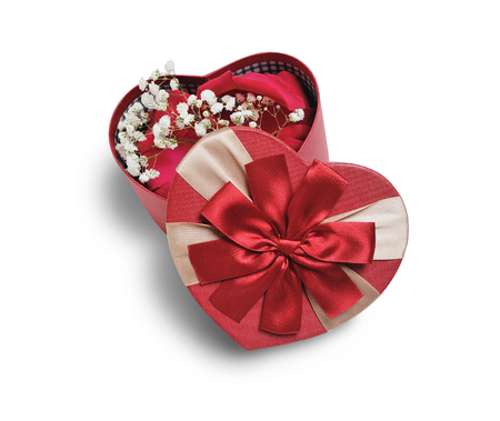Open heart gift box with flowers with a red bow, isolated clipping mask on white background, top view, illustration for valentines day or wedding Stock Photo