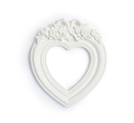 vintage classical white frame in form of heart on white background Stock Photo