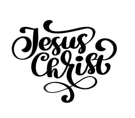 Hand drawn Jesus Christ lettering text on white background. Calligraphy lettering Vector illustration 向量圖像