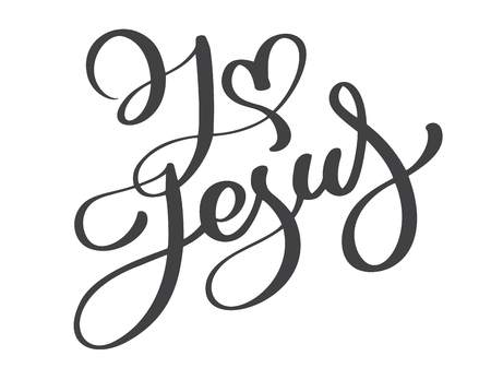 Hand drawn I love Jesus lettering with heart text on white background. Calligraphy lettering Vector illustration.