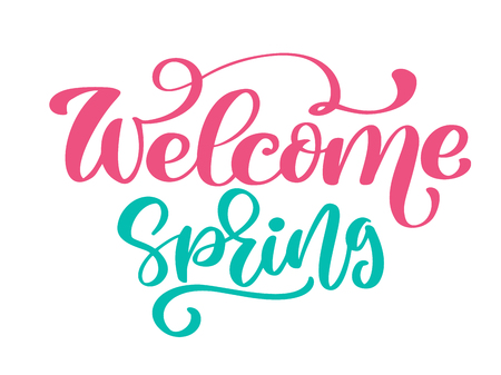 Welcome Spring Hand drawn quote text. Trendy hand lettering quote, fashion graphics, art print for posters and greeting cards design. Calligraphic isolated quote in black ink. Vector illustration