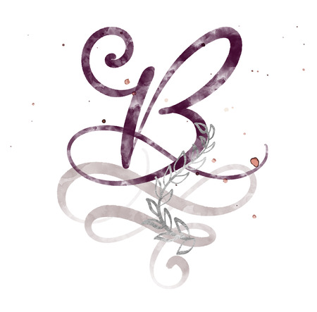 Hand drawn calligraphy letter B. watercolor Script font. Isolated letters written with ink. Handwritten brush style. Hand lettering for packaging design poster, wedding, birthday card