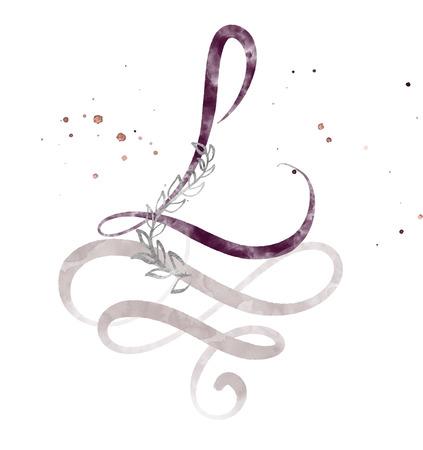 Lettre de calligraphie dessinée à la main L.Police de script aquarelle. Lettres isolées écrites à l'encre. Style de pinceau manuscrit. Lettrage à la main pour l'affiche de conception d'emballage, mariage, carte d'anniversaire