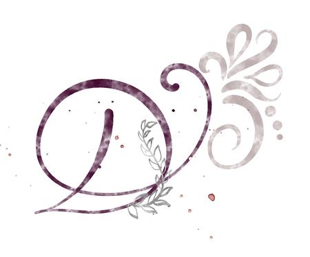 Hand getrokken kalligrafie letter D. aquarel Script lettertype. Geïsoleerde letters geschreven met inkt. Handgeschreven borstelstijl. Hand belettering voor verpakking ontwerp poster, bruiloft, verjaardagskaart