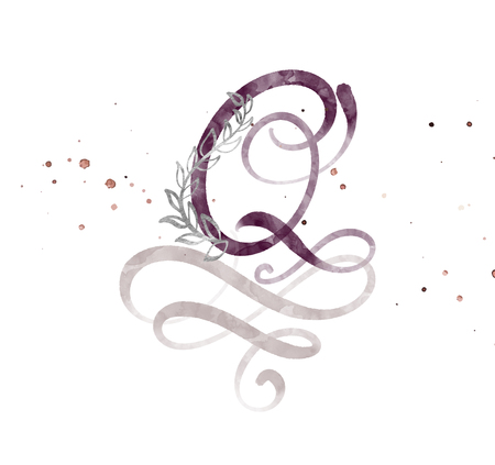 Hand drawn calligraphy letter Q. watercolor Script font. Isolated letters written with ink. Handwritten brush style. Hand lettering for packaging design poster, wedding, birthday card