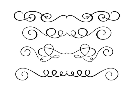 Set hand drawn flourish Calligraphy elements. Vector illustration on a white background Vettoriali