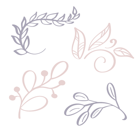 Hand drawn Wild flowers branch vector drawing and sketch with line-art on white backgrounds, for botanical logo