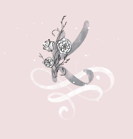 Disegnata a mano calligrafia lettera K con fiore. carattere di script dell'acquerello. Lettere isolate scritte con inchiostro. Stile pennello scritto a mano. Scritte a mano per packaging design poster, matrimonio, biglietto d'auguri Archivio Fotografico - 97286384