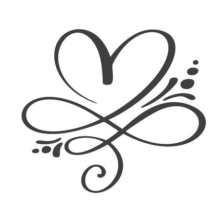 Coeur amour signe pour toujours. Infini Symbole romantique lié, rejoindre, passion et mariage. Modèle pour t-shirt, carte, affiche. Concevoir un élément plat de la Saint-Valentin. Illustration vectorielle.