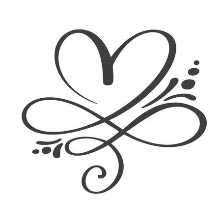 Heart love sign forever. Infinity Romantic symbol linked, join, passion and wedding. Template for t shirt, card, poster. Design flat element of valentine day. Vector illustration. Imagens - 97143637