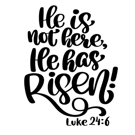 Hand drawn He has Risen, Luke 24 6 text on white background. Biblical background. New Testament. Christian verse, Vector illustration isolated on white background. Illustration
