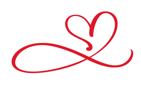 Heart love flourish sign forever. Infinity Romantic symbol linked, join, passion and wedding. Template for t shirt, card, poster. Design flat element of valentine day. Vector illustration. Vettoriali