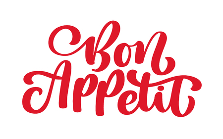 Red Bon Appetit lettering on a white background. Ilustração