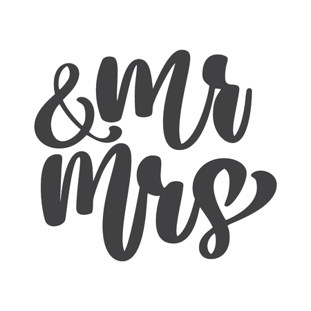 A wedding words Mr. and Mrs. vector hand-written with pointed pen and ink Isolated on white background