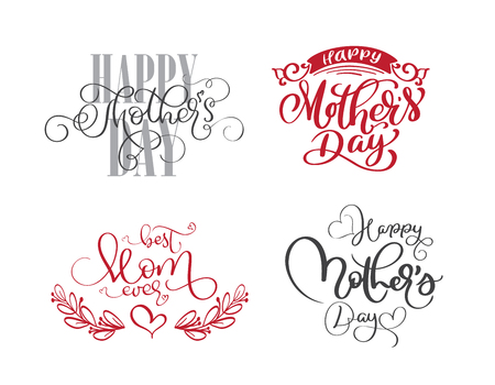 happy mothers day set Hand drawn lettering quotes. Vector t-shirt or postcard print design, Hand drawn vector calligraphic text design templates, Isolated phrase on white background Illustration