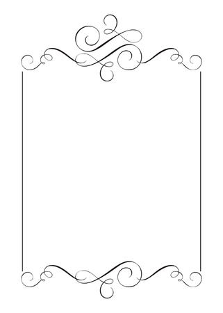 Decorative frames and border standard rectangle hand drawn flourish separator Calligraphy designer elements. Vector vintage wedding illustration Isolated on white background Vettoriali