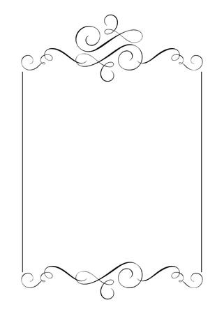 Decorative frames and border standard rectangle hand drawn flourish separator Calligraphy designer elements. Vector vintage wedding illustration Isolated on white background Illustration