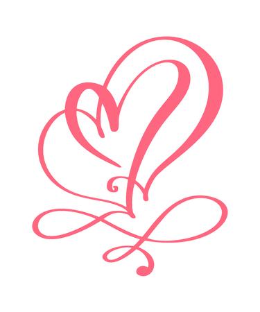 Hart liefde teken voor altijd voor Happy Valentines Day. Infinity Romantisch symbool gekoppeld, meedoen, passie en huwelijk. Sjabloon voor t-shirt, kaart, poster. Ontwerp plat element. Vector illustratie