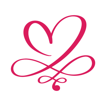 Heart love sign forever for Happy Valentines Day. Infinity Romantic symbol linked, join, passion and wedding. Template for t shirt, card, poster. Design flat element. Vector illustration