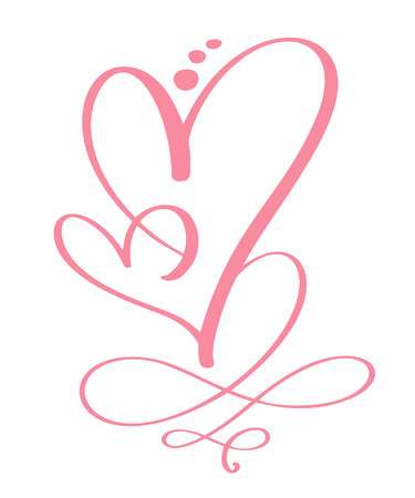 Heart love sign forever for Happy Valentines Day. Infinity Romantic symbol linked, join, passion and wedding. Template for t shirt, card, poster. Design flat element. Vector illustration 向量圖像