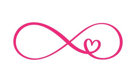 Amor palabra en el signo del infinito. Firmar en postal para el día de San Valentín, tatuaje, impresión. Vector ilustración de caligrafía y letras aislada sobre fondo blanco.