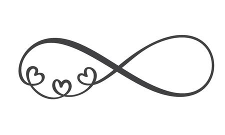 Liefdeswoord In het teken van oneindigheid. Teken op briefkaart naar Valentijnsdag, tatoeage, print. Vector kalligrafie en belettering illustratie geïsoleerd op een witte achtergrond.