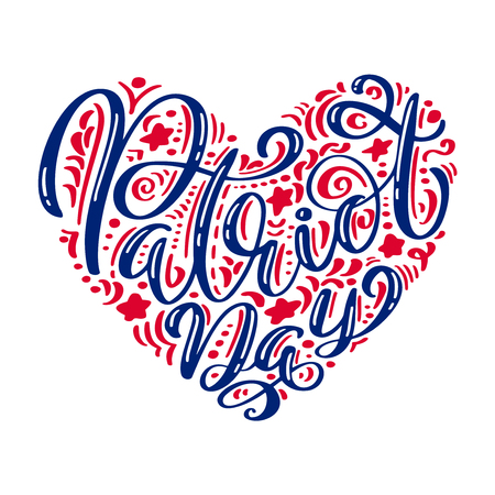 We Will Never Forget. 9 11 Calligraphy text Patriot Day in heart, American color stripes background. Patriot Day September 11, 2001 Poster Template Vector illustration for Patriot Day