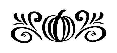 Pumpkin vegetable hand drawn floral autumn design elements isolated on white background for retro design. Vector calligraphy and lettering illustration. Ilustração