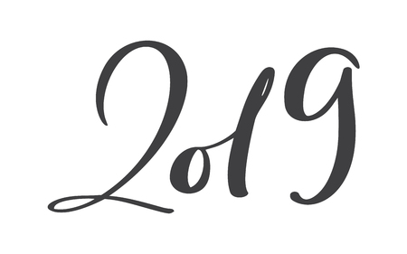 Greeting card design template with calligraphy 2019 New Year vintage number 2019 hand drawn lettering. Vector illustration.