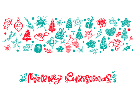 Merry Christmas vector calligraphy lettering text. Xmas scandinavian greeting card. Hand drawn illustration of a cute funny winter elements. Isolated objects