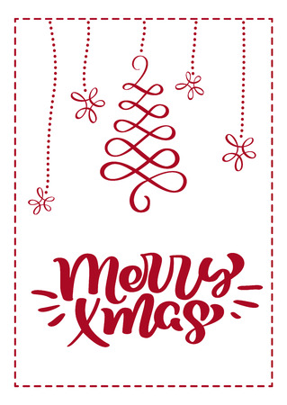Christmas scandinavian greeting card with merry xmas calligraphy lettering text. Hand drawn vector illustration of flourishes. Isolated objects.